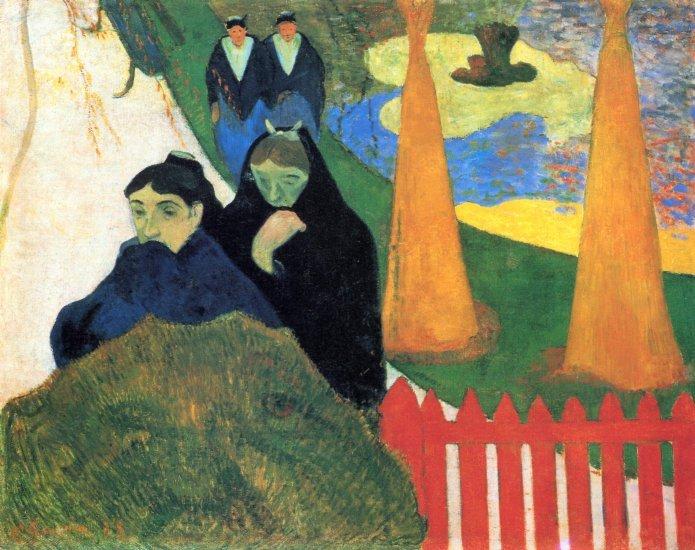 Old Maids in a Winter Garden Arles women canvas art print by Paul Gauguin