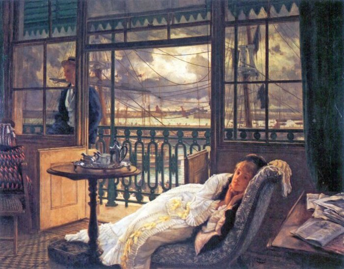 A Storm Moves Over woman canvas art print by Tissot