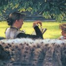 A Story Read woman girl child landscape canvas art print by Tissot