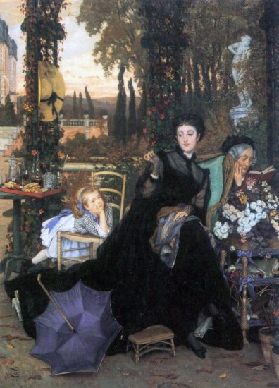 A Widow women child girl canvas art print by Tissot