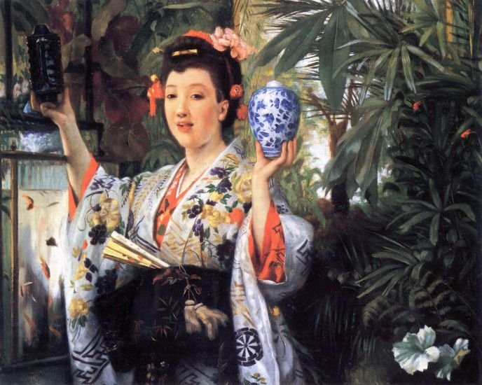 A Young Woman Holds Japanese Goods canvas art print by Tissot