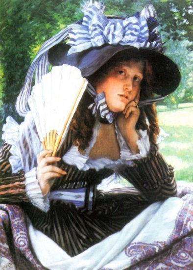 A Young Woman with a Fan canvas art print by Tissot