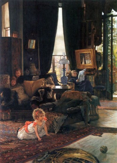 Hide and Seek family canvas art print by Tissot