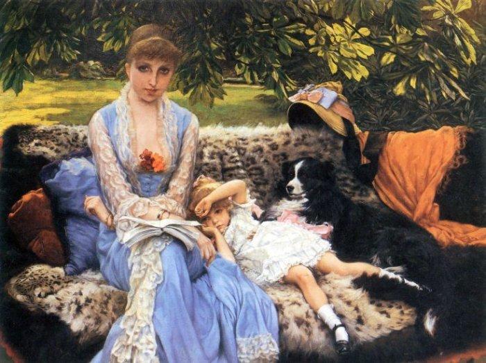 Silence woman girl child dog canvas art print by Tissot