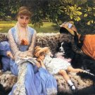 Silence woman girl child dog canvas art print by Tissot