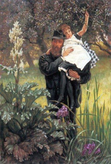 The Widower man girl canvas art print by Tissot