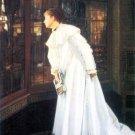 Upstairs woman portrait canvas art print by Tissot