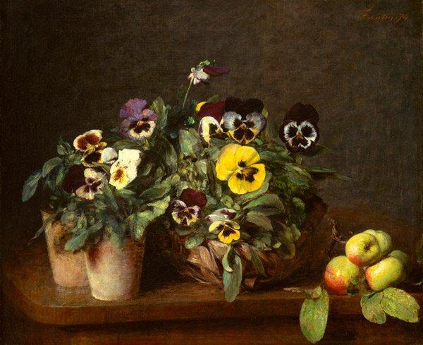 Still Life with pansies flowers canvas art print Henri Fantin Latour