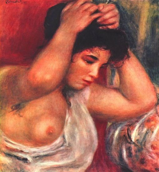 Young Woman Hairdressing canvas art print by Pierre-Auguste Renoir