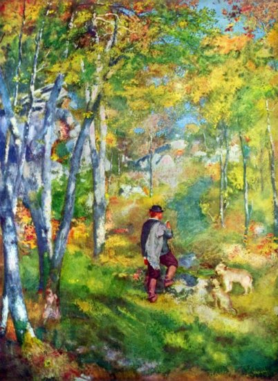 Young Man in the Forest of Fontainebleau landscape dogs canvas art print by Pierre-Auguste Renoir
