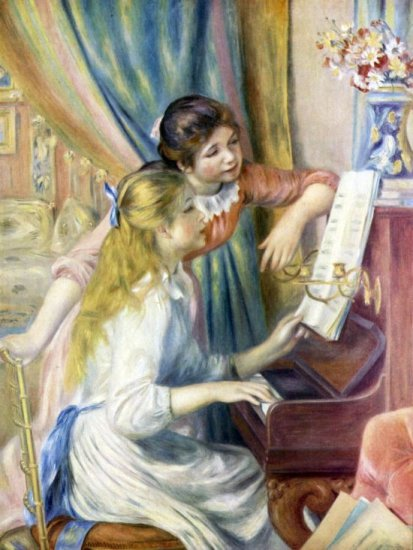 Young Girls at the Piano III canvas art print by Pierre-Auguste Renoir