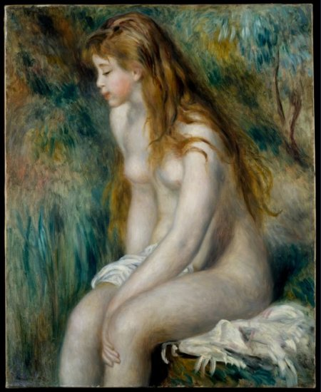 Bathing I girl woman canvas art print by Pierre-Auguste Renoir
