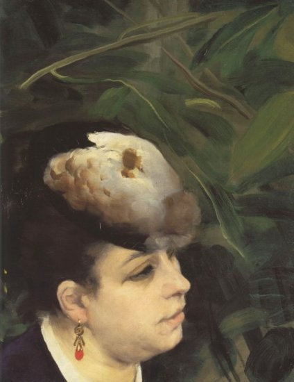 Woman with Gull Feathe Detail portrait canvas art print by Pierre-Auguste Renoir