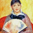 Woman with Fan portrait canvas art print by Pierre-Auguste Renoir