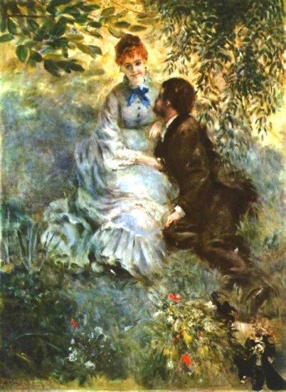 Twosome genre landscape canvas art print by Pierre-Auguste Renoir