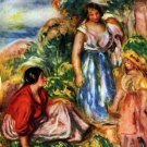 Two Women with Young Girls in a Landscape canvas art print by Pierre-Auguste Renoir