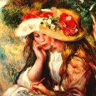 Two Reading Girls in a Garden landscape canvas art print by Pierre-Auguste Renoir