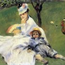 Camille Monet and her Son Jean in the garden of Argenteuil woman cock canvas art print by Renoir