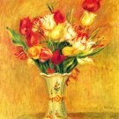Still life tulips in a vase flowers canvas art print by Renoir