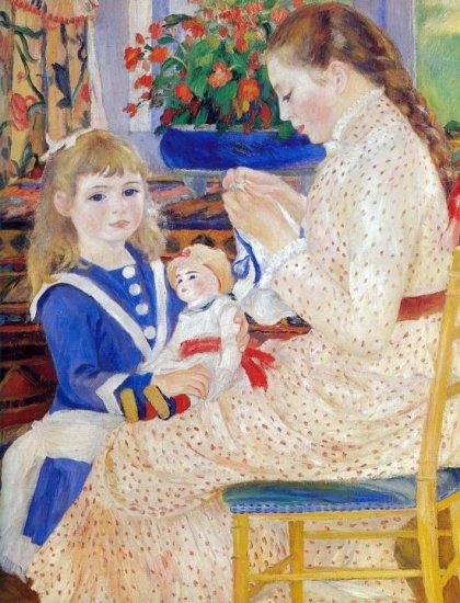 Children in the afternoon in Wargemont Detail woman canvas art print by Pierre-Auguste Renoir