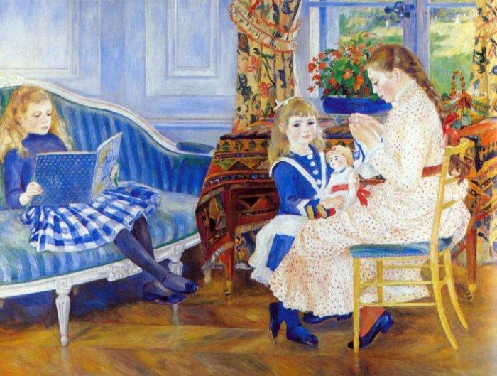 Children in the Afternoon at Wargemont woman girls canvas art print by Pierre-Auguste Renoir