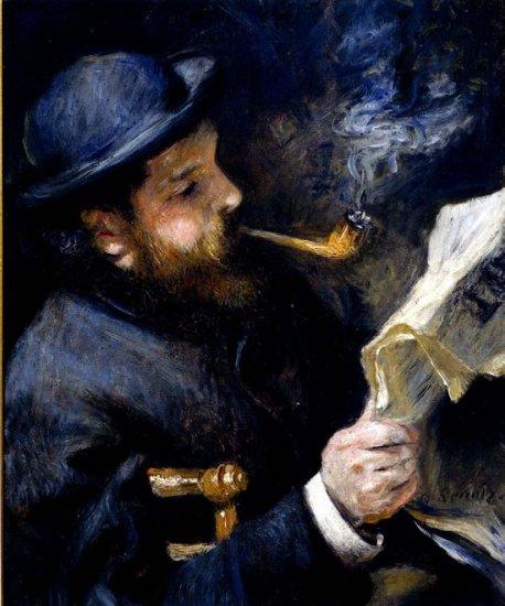 Claude Monet Reading a Newspaper man canvas art print by Pierre-Auguste Renoir