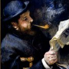 Claude Monet Reading a Newspaper man canvas art print by Pierre-Auguste Renoir