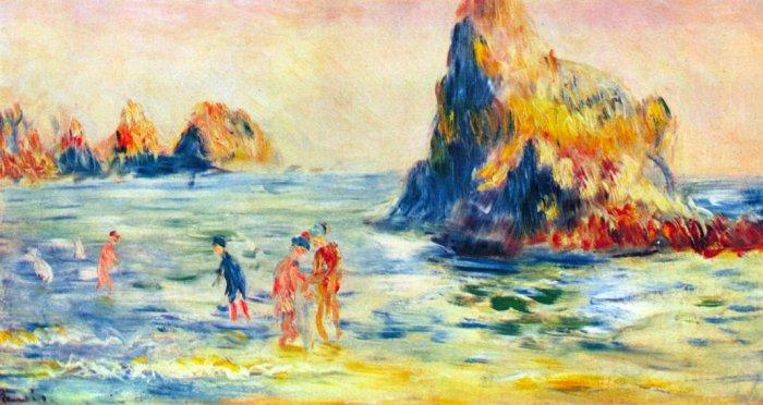 Cliffs at Guernsey seascape rock people beach canvas art print by Pierre-Auguste Renoir
