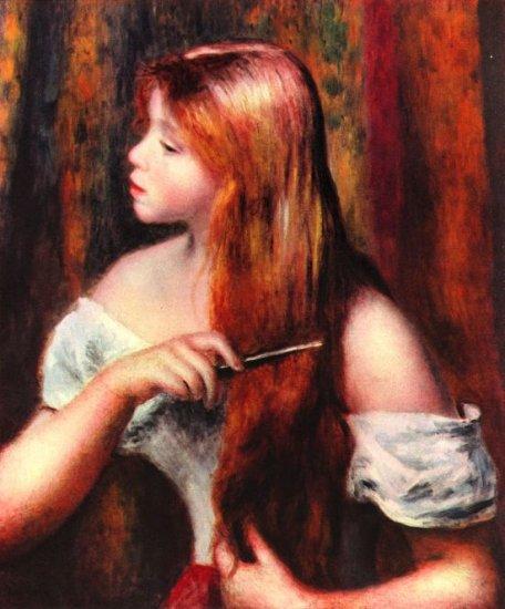 Combing Girl canvas art print by Pierre-Auguste Renoir