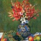 Still life flower fruit apple pear grape vase canvas art print Renoir