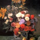 Still life flowers in a vase fruits pears canvas art print by Renoir