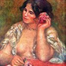 Gabriele with a Rose woman flower canvas art print by Pierre-Auguste Renoir