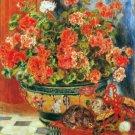 Still life geraniums cats flowers animals canvas art print by Renoir