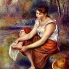 Girl Dries her Feet drys water landscape canvas art print by Pierre-Auguste Renoir
