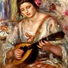 Girl with Mandolin woman canvas art print by Pierre-Auguste Renoir