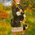 Girl with Parasol umbrella flowers landscape canvas art print by Pierre-Auguste Renoir