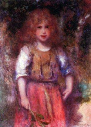 Gypsy girl flowers child canvas art print by Pierre-Auguste Renoir