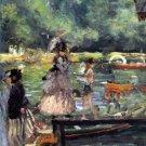 La Grenouillere I detail water landscape people boats canvas art print by Pierre-Auguste Renoir