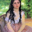 Summertime study 1868 girl young woman canvas art print by Pierre-Auguste Renoir