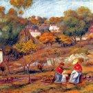 Landscape at Cagnes hill rocks trees women child houses canvas art print by Pierre-Auguste Renoir