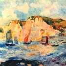 Sea and Cliffs seascape rock boats canvas art print by Pierre-Auguste Renoir