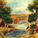 Sailing boats at Cagnes river water landscape canvas art print by Pierre-Auguste Renoir