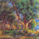 Landscape on the  Coast near Menton 1883 trees sea canvas art print by Pierre-Auguste Renoir