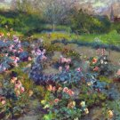 Rose Garden flowers landscape canvas art print by Pierre-Auguste Renoir