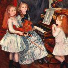 Portrait The Daughters of Catulle Mendes 1888 girls piano canvas art print by Pierre-Auguste Renoir