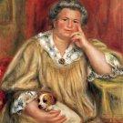 Portrait of Madame Renoir with Bob dog canvas art print by Renoir