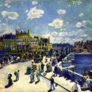 New Bridge Paris 1872 Pont Neuf cityscape water river canvas art print by Pierre-Auguste Renoir