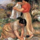 Laundresses 1912 women cloths river water landscape canvas art print by Pierre-Auguste Renoir
