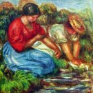 Laundresses I women river water landscape canvas art print by Pierre-Auguste Renoir