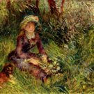 Madame Renoir with Dog woman portrait landscape canvas art print by Pierre-Auguste Renoir